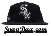 Image of Vintage Deadstock Chicago White Sox Sports Specialties Black Wool Logo Snapback Hat Cap