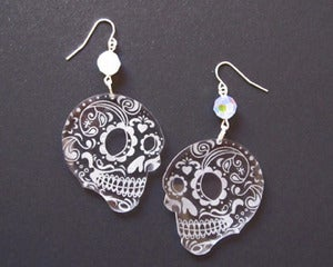Image of Clear Sugar Skull Dia de los Muertos Earrings
