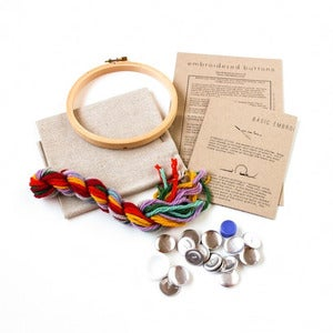 Image of DIY Custom Buttons Crewel Embroidery Kit