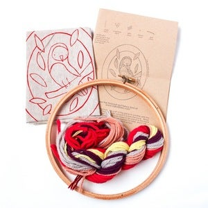Image of Red Fancy Bird Crewel Embroidery Kit