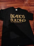 Image of BEARDS IN THE BUILDING T-SHIRT BLACK WITH YELLOW PRINT