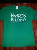 Image of BEARDS IN THE BUILDING T-SHIRT KELLY GREEN WHITE PRINT
