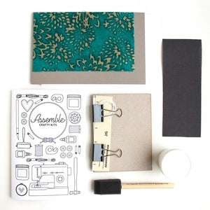 Image of Assemble Crafting Kit: Hardcover Bookbinding in Turquoise Mums Lokta