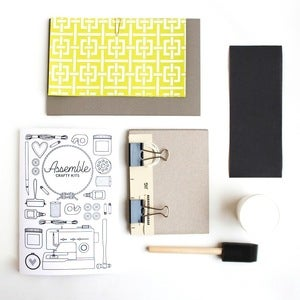 Image of Assemble Crafting Kit: Hardcover Bookbinding in Lime Green Lattice Recycled Rag
