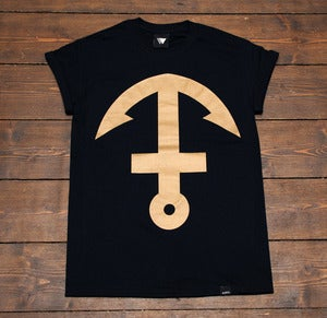 Image of Inverted Anchor Cross - Black & Gold