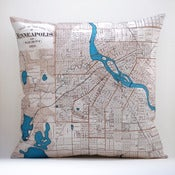 "Image of Vintage MINNEAPOLIS Map Pillow, Made to Order 18"" x18"" Cover"