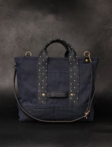 Image of Utility Tote - Navy & Indigo Dot