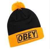 Image of NEW! Obey Box Logo Beanie Pow Collection (Black/Yellow)