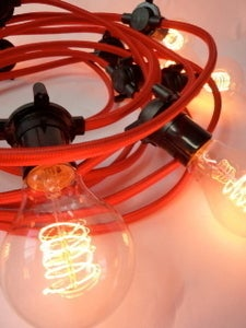 Image of vintage lighting | fabric | festoon cable