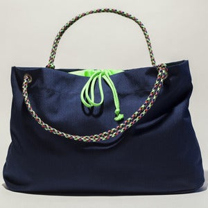 Image of Scotty - Karen Tote - Navy with Neon Green