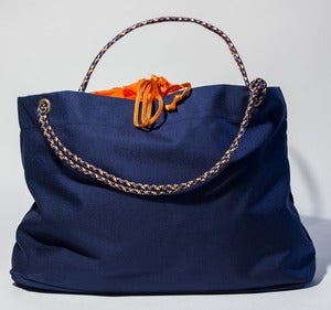 Image of Scotty - Karen Tote - Navy with Orange