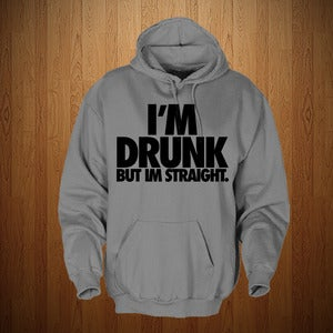"Image of 3525 ""IM DRUNK"" HOODIE SWEATSHIRT- GREY & BLACK"
