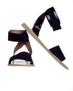 Image of MiniMarket &gt; Sandal &gt; Black Leather Suede