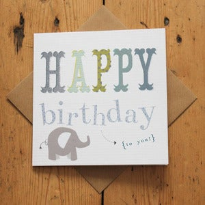 Image of Carnival Kids - Blue Text Birthday Card
