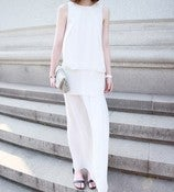 Image of AMS Sleeveless Pleated Maxi Dress White