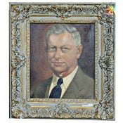 Image of Oil Portrait in Frame - Gray Haired Gentleman
