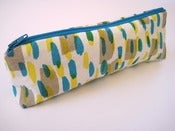 Image of Printed pencil case in taupe/yellow/blue
