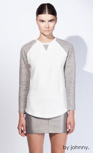 Image of The Fall Baseball Sweater - Ivory Marle