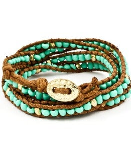 Image of Turquoise Beaded Wrap Bracelet