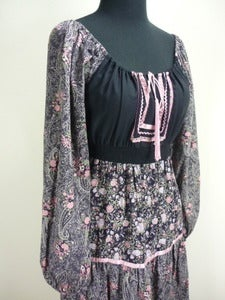 Image of Young Edwardian black floral peasant dress