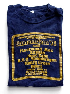 Image of Vintage Summerjam '76 T-Shirt- Fleetwood Mac, Heart, Kansas, REO Speedwagon, ...