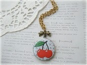 Image of Antique Brass Long Cherries Locket Necklace
