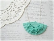 Image of Blue Floral Fan Necklace