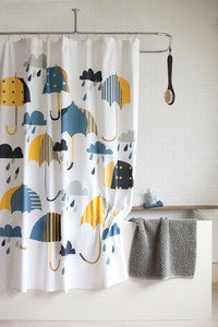 Image of Raindrops and Umbrellas Shower Curtain