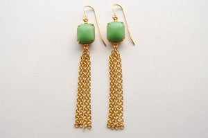 Mint Green & Gold Earrings