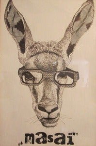 "Image of ""My African Ears"" original drawing on paper, framed by Louis Masai Michel"