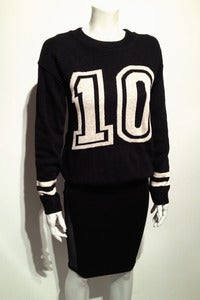 Image of knitted dark navy sporty 10 jumper
