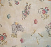 Image of 4 Yards Elephant and Clown Nursery Fabric