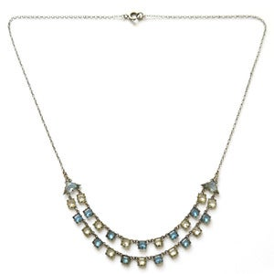 Image of Vintage Czech Art Deco Blue & White Open Back Double Row Glass Chain Necklace