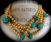 Image of N1229 Gold glass pearls with turquoise chunks