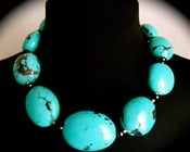 Image of N1166 Large oval turquoise necklace