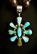 Image of N1801 Bronzite stone with turquoise spacers with pendant