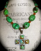 Image of N1037 Long green turquoise with sterling pendant