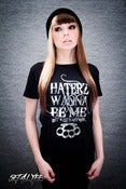 Image of S4L LADIES 'HATERZ' SILVER FOIL BLACK T