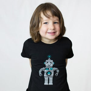 Image of Robot with Cupcake Short Sleeve Organic Onesie/Tee