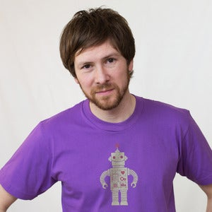 Image of Purple on Gold Sparkle Robot Short Sleeve Organic Adult Tee