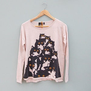 Image of Oat Crazy Cat Sweater by Pretty Snake 