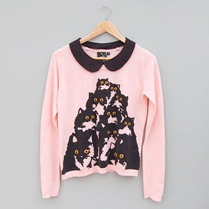 Image of Crazy Cat Candy Pink Sweater with Detachable Black Peter Pan Collar by Pretty Snake 
