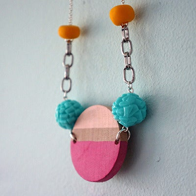 Image of Wooden Circular Necklace (6)