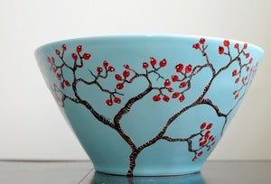 Image of Hand-Painted Large Blue Bowl: Red Berry Winter Tree Branches
