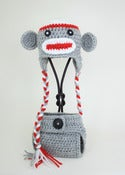 Image of Sock Monkey beanie with Diaper Cover