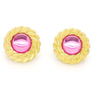 Image of Vintage Gold Leaf Wreath Pink Triffari Clip Earrings