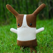 "Image of Flat Bonnie Dutch Bunny Plush - Brown & White (Classic 12"") Handmade"