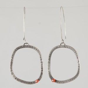 Image of Tova Lund Textured Earrings with Orange Bead