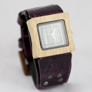 Image of Mistura Wooden Watch with Plum Wrist Strap