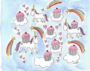 Image of Original Watercolor Painting: Cupcakes and Unicorns